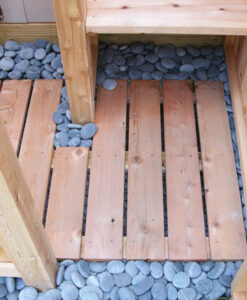 beach pebbles outdoor shower floor