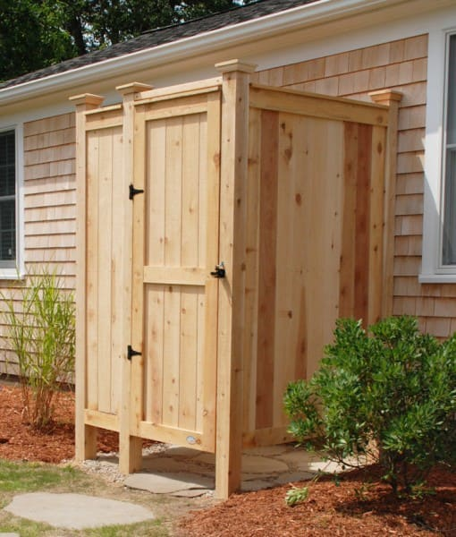 Outdoor shower enclosure cedar showers ct nh ri vt me for Complete kit homes