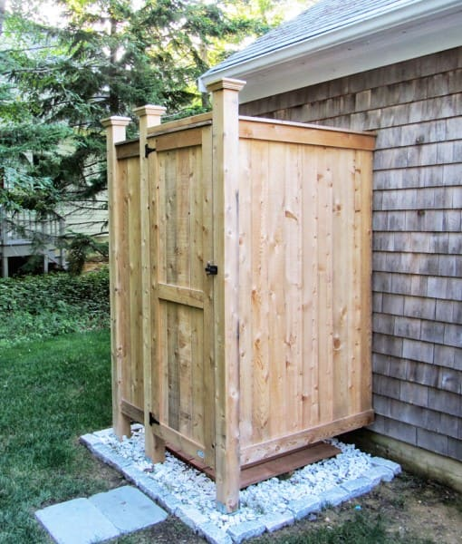 outdoor shower knotty cedar boards