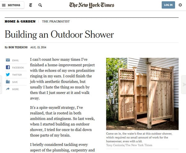 NY Times - Cape Cod Shower Kits