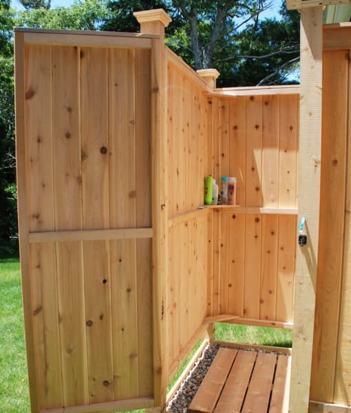 outdoor cedar shower kit inside