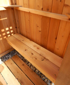 outdoor cedar shower bench