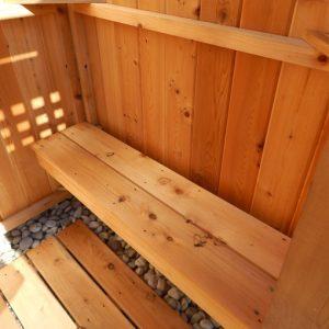outdoor cedar shower bench