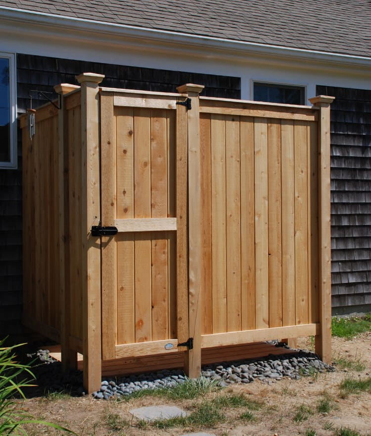 cedar outdoor shower custom design cape cod shower kits. Black Bedroom Furniture Sets. Home Design Ideas