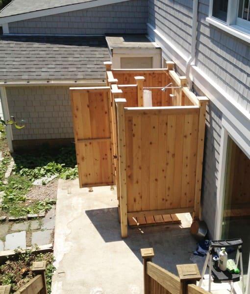 Cedar Outdoor Showers Enclosures NY CT NJ FL VA