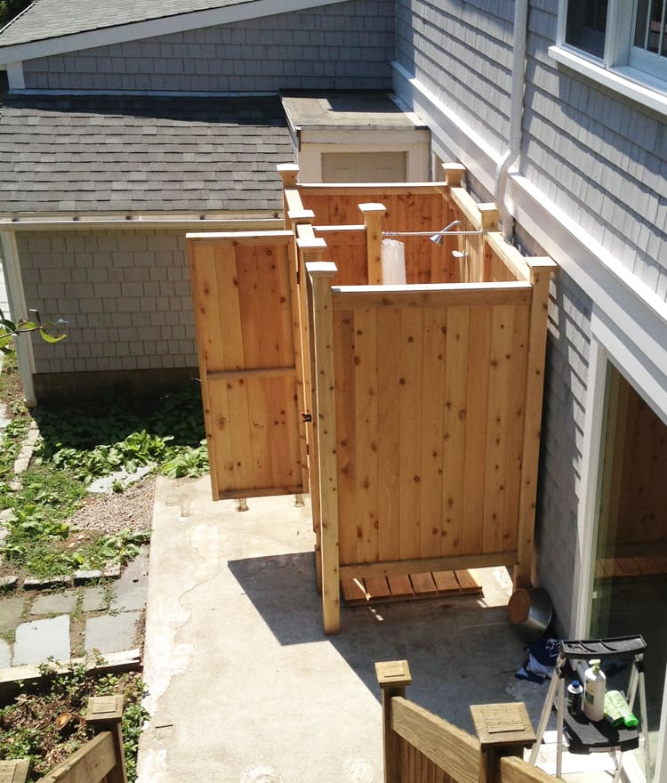 Cedar Outdoor Showers Made On Cape Cod Capecodshowerkits Com