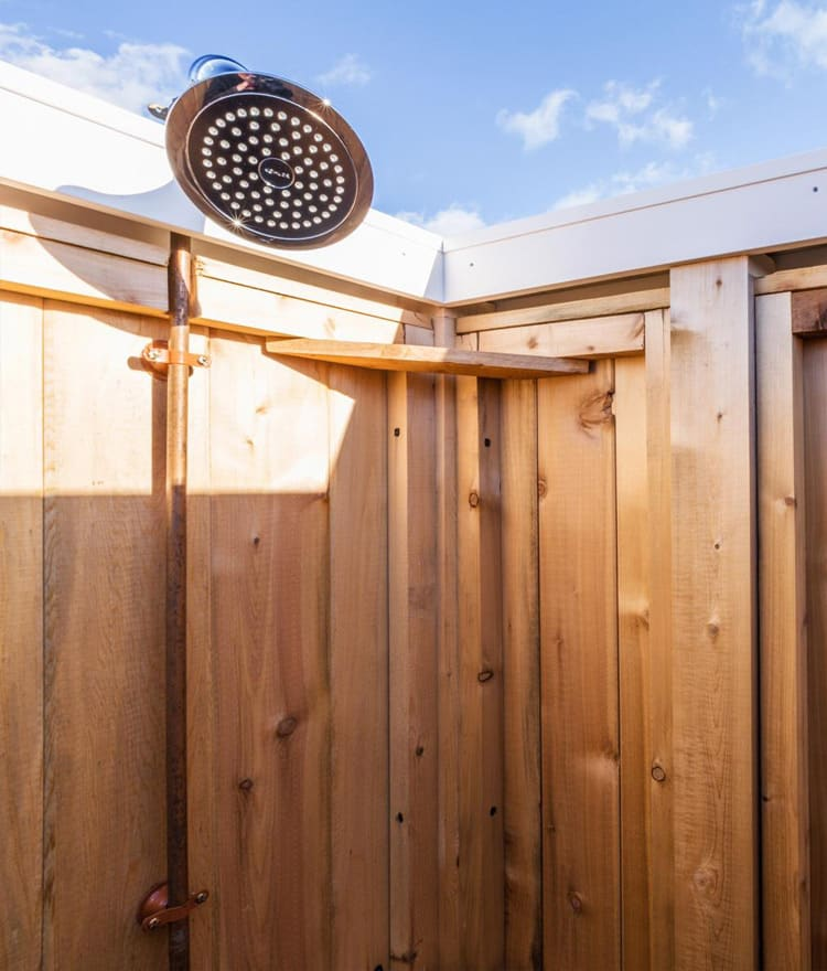 shower head - cedar outdoor shower