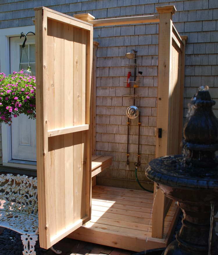 Shower bench for cedar outdoor showers cape cod shower kits - How to make an outdoor shower ...