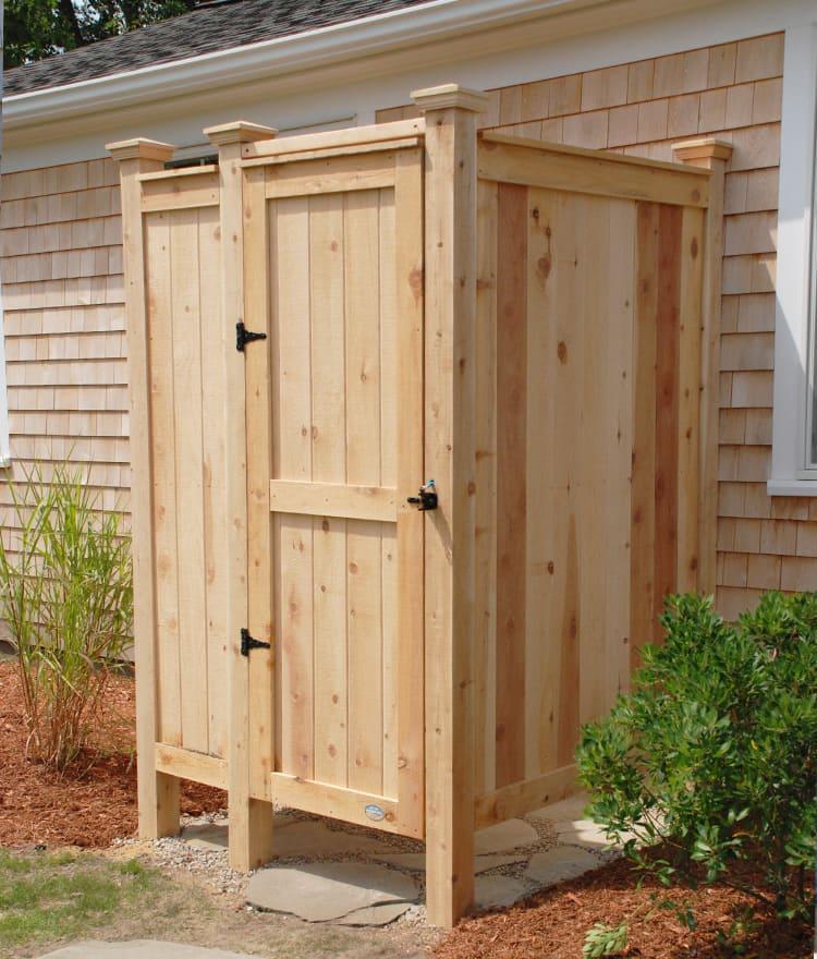 Outdoor Showers Enclosures Cedar PVC Cape Cod Shower Kits Co