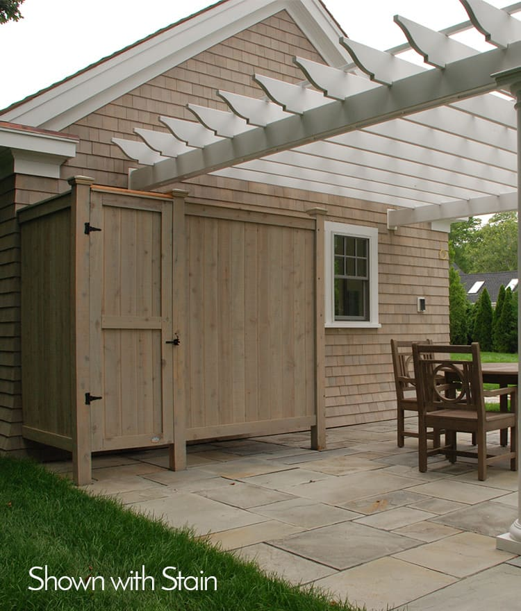 outdoor shower with stain