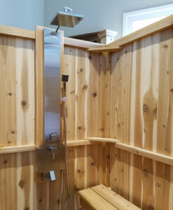 Outdoor shower enclosure cedar showers kits outdoor for Outdoor shower tower