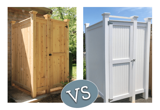 Cedar vs PVC Outdoor Shower Kits